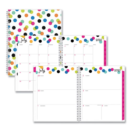Ampersand Dots Academic Year Weekly/Monthly Planner, 11 x 8.5, Multicolor, 2020-2021