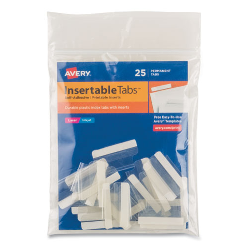 Insertable Index Tabs with Printable Inserts, 1/5-Cut Tabs, Clear, 1 Wide, 25/Pack