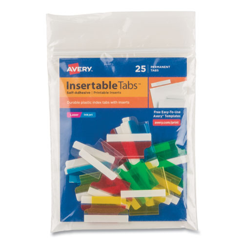 Insertable Index Tabs with Printable Inserts, 1/5-Cut Tabs, Assorted Colors, 1 Wide, 25/Pack