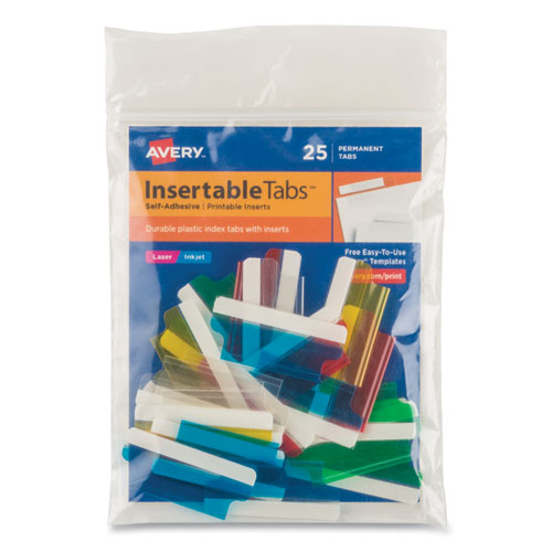 Insertable Index Tabs with Printable Inserts, 1/5-Cut Tabs, Assorted Colors, 1.5 Wide, 25/Pack