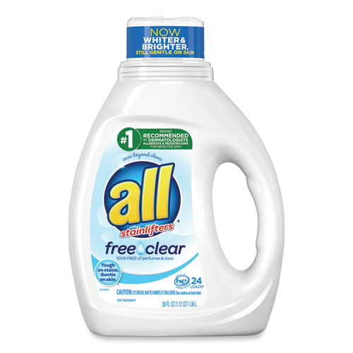 Ultra Free Clear Liquid Detergent, Unscented, 36 oz Bottle, 6/Carton