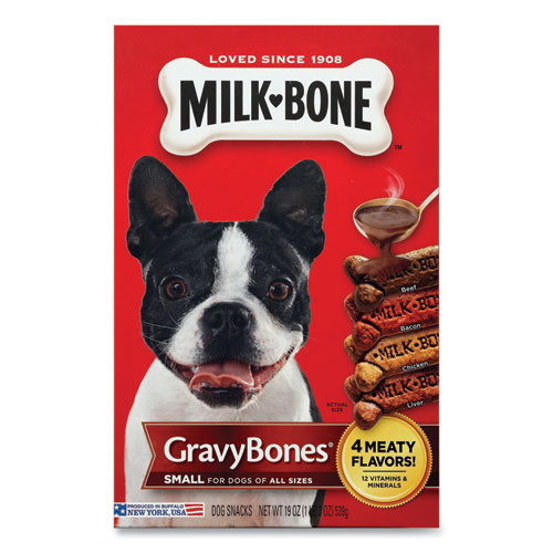 Small Sized GravyBones Dog Biscuits, Bacon; Beef; Chicken; Liver, 19 oz