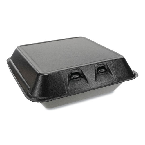 Pactiv SmartLock Foam Hinged Containers, Large, 9 x 9.13 x 3.25, Black, 150/Carton
