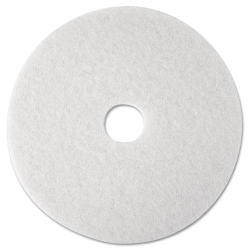 """3M™ Super Polish Floor Pad 4100, 12"""" Diameter, White, 5/Carton"""