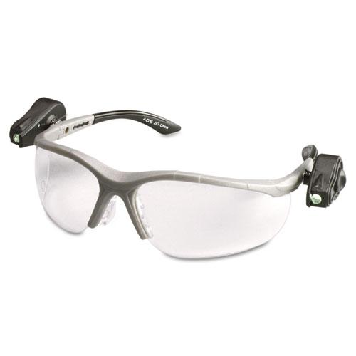 LightVision Safety Glasses w/LED Lights, Clear AntiFog Lens, Gray Frame