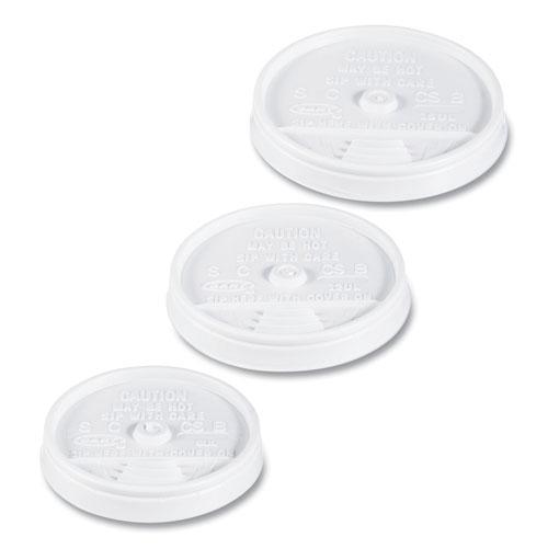 Dart® Sip Thru Lids For 10, 12 oz Foam Cups, Plastic, White, 1000/Carton