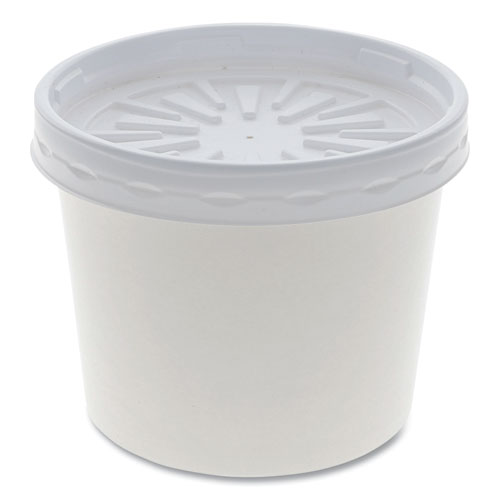 """Pactiv Paper Round Food Container and Lid Combo, 12 oz, 3.75"""" Diameter x 3h"""", White, 250/Carton"""
