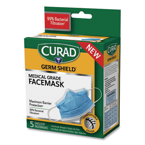 Germ Shield Medical Grade Maximum Barrier Face Mask, Pleated, 10/Box