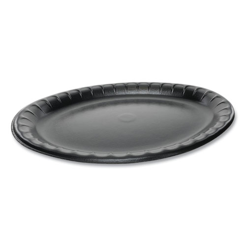 Laminated Foam Dinnerware, Platter, Oval, 11.5 x 8.5, Black, 500/Carton