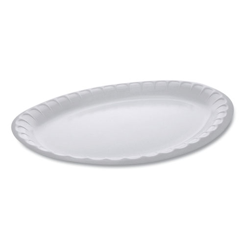 Laminated Foam Dinnerware, Platter, Oval, 11.5 x 8.5, White, 500/Carton