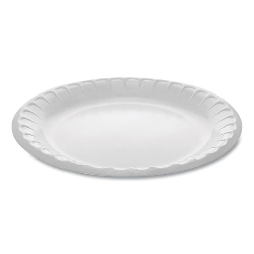 Laminated Foam Dinnerware, Plate, 8.88 Diameter, White, 500/Carton