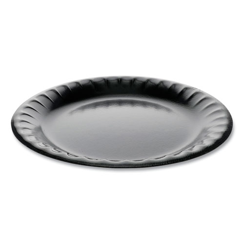 Laminated Foam Dinnerware, Plate, 9 Diameter, Black, 500/Carton