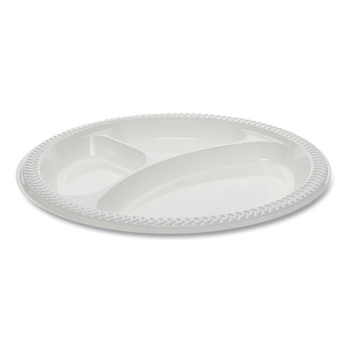 Meadoware OPS Dinnerware, 3-Compartment Plate, 8.88 Diameter, White, 400/Carton