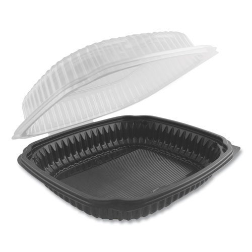 Anchor Packaging Culinary Lites Microwavable Container, 47.5 oz, 10.56 x 9.98 x 3.18, Clear/Black, 100/Carton