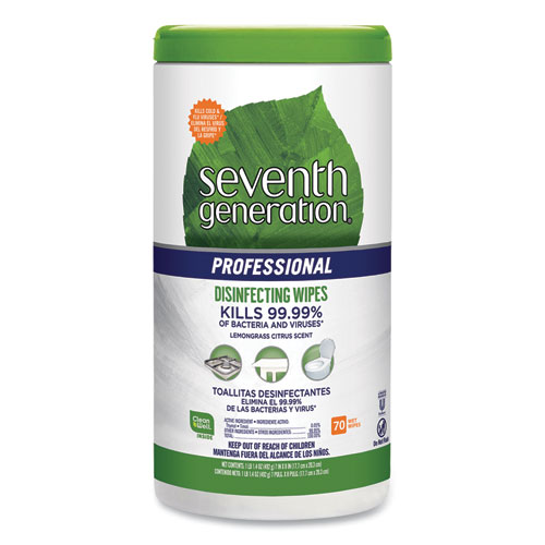 Disinfecting Multi-Surface Wipes, 8 x 7, Lemongrass Citrus, 70/Canister
