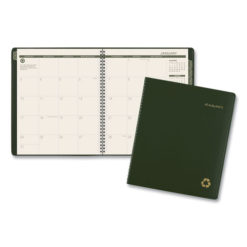 Recycled Monthly Planner, 11 x 9, Green, 2021-2022