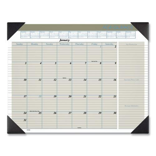 Executive Monthly Desk Pad Calendar, 22 x 17, Buff, 2021