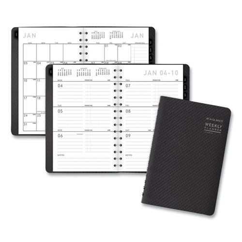 Contemporary Weekly/Monthly Planner, Block, 8.5 x 5.5, Graphite Cover, 2021