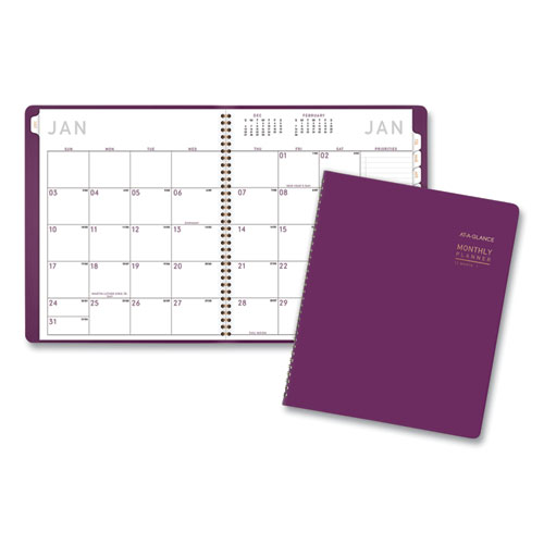 Contemporary Monthly Planner, 11 x 9, Purple, 2021