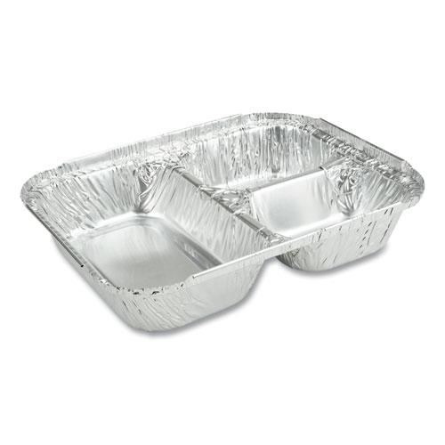 3-Compartment Oblong Aluminum Foil Container, 23 oz, 6.56 x 8.69 x 1.81, 500/Carton