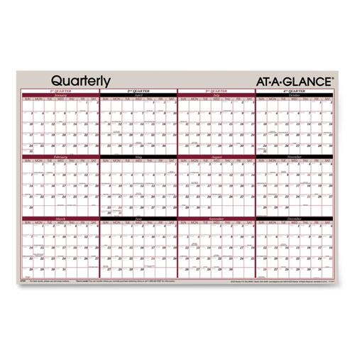 Vertical/Horizontal Erasable Quarterly Wall Planner, 24 x 36, 2021