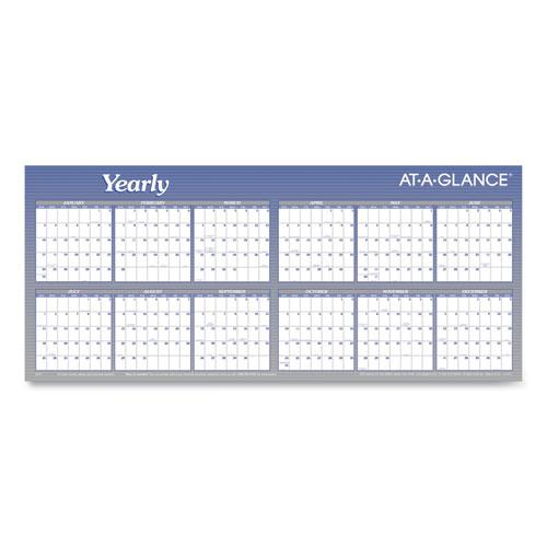 Large Horizontal Erasable Wall Planner, 60 x 26, White/Blue, 2021
