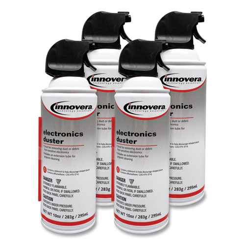 Compressed Air Duster Cleaner, 10 oz Can, 4/Pack