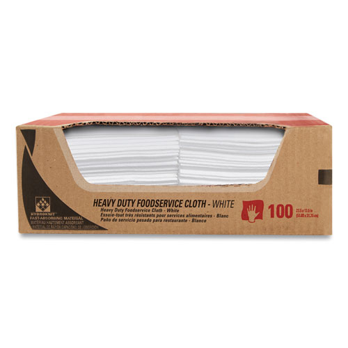 Heavy-Duty Foodservice Cloths, 12.5 x 23.5, White, 100/Carton