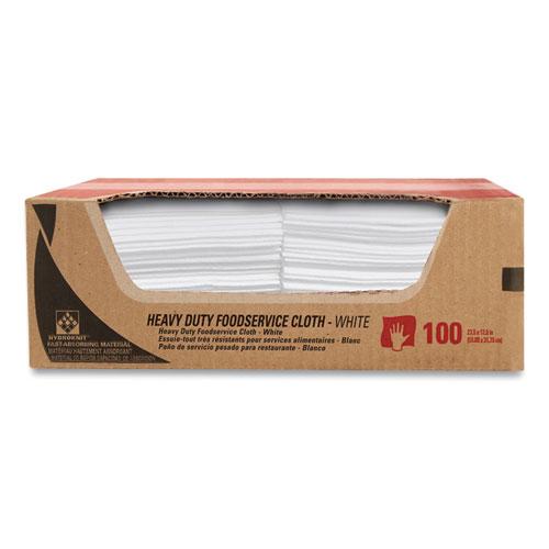 Heavy-Duty Foodservice Cloths, 12.5 x 23.5, White, 100/Carton