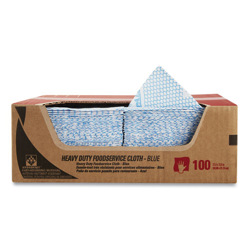 Heavy-Duty Foodservice Cloths, 12.5 x 23.5, Blue, 100/Carton