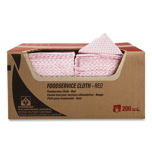 Foodservice Cloths, 12.5 x 23.5, Red, 200/Carton