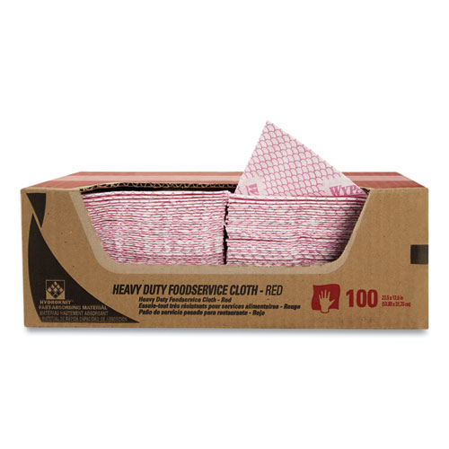 Heavy-Duty Foodservice Cloths, 12.5 x 23.5, Red, 100/Carton