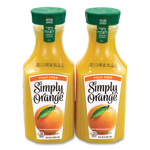 Orange Juice Pulp Free, 52 oz Bottle, 2/Pack, Free Delivery in 1-4 Business Days