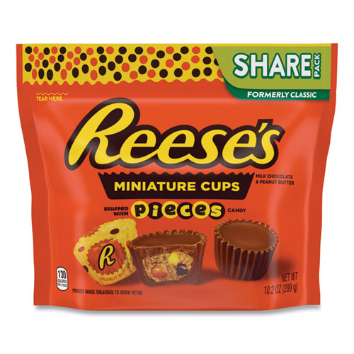 Peanut Butter Cups with Reeses Pieces Miniatures Share Pack, 10.2 oz Bag, 3 Bags/Pack, Free Delivery in 1-4 Business Days