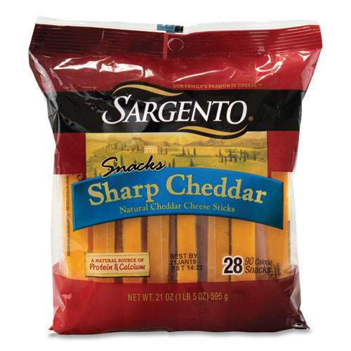 Cheese Sticks Sharp Cheddar, 21 oz Pack, 28 Sticks/Pack, Free Delivery in 1-4 Business Days
