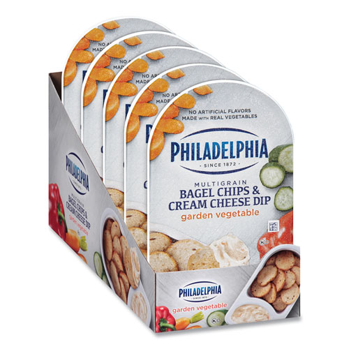 Multigrain Bagel Chips and Garden Vegetable Cream Cheese Dip, 2.5 oz, 5/Box, Free Delivery in 1-4 Business Days