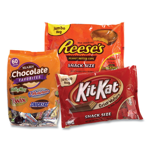 Chocolate Party Assortment, Mars Asst/Kit Kat/Reeses Peanut Butter Cups, 3 Bag Bundle, Free Delivery in 1-4 Business Days