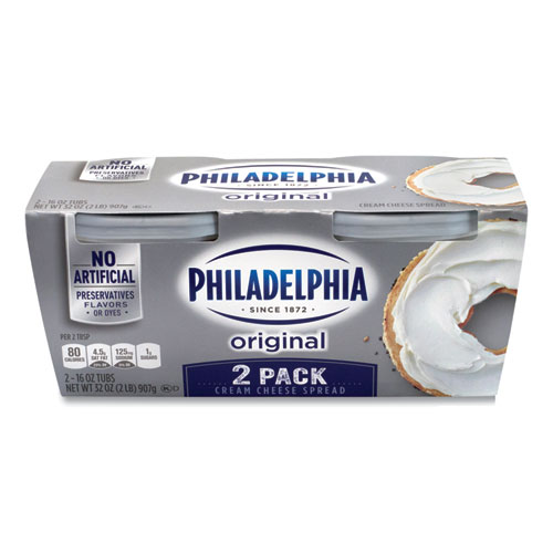 Philadelphia Cream Cheese, Original, 16 oz Tub, 2/Pack, Delivered in 1-4 Business Days