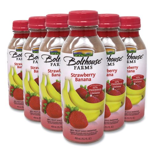 100 Fruit Juice Smoothie, Strawberry Banana, 15.2 oz Bottle, 6/Pack, Free Delivery in 1-4 Business Days