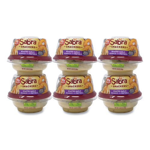 Classic Hummus with Pretzel, 4.56 oz Cup, 6 Cups/Pack, Free Delivery in 1-4 Business Days