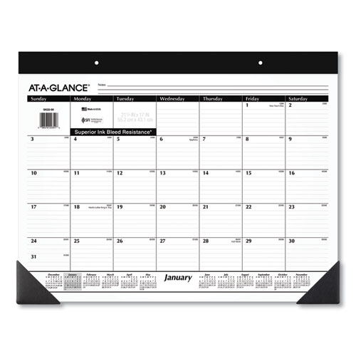 AT-A-GLANCE® Monthly Refillable Desk Pad, 22 x 17, White, 2022