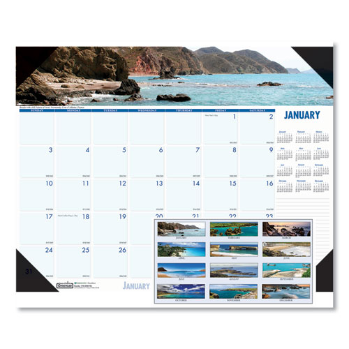 Recycled Coastlines Photographic Monthly Desk Pad Calendar, 22 x 17, 2021