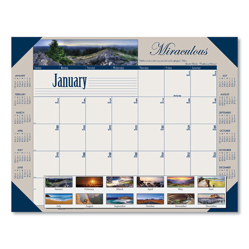Recycled Motivational Photographic Monthly Desk Pad Calendar, 22 x 17, 2021