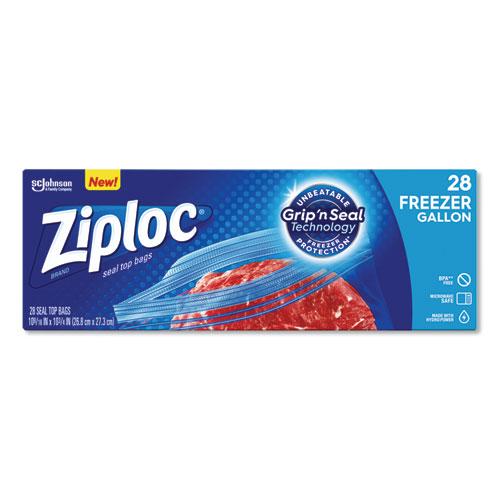 Zipper Freezer Bags, 1 gal, 2.7 mil, 9.6 x 12.1, Clear, 28/Box, 9 Boxes/Carton
