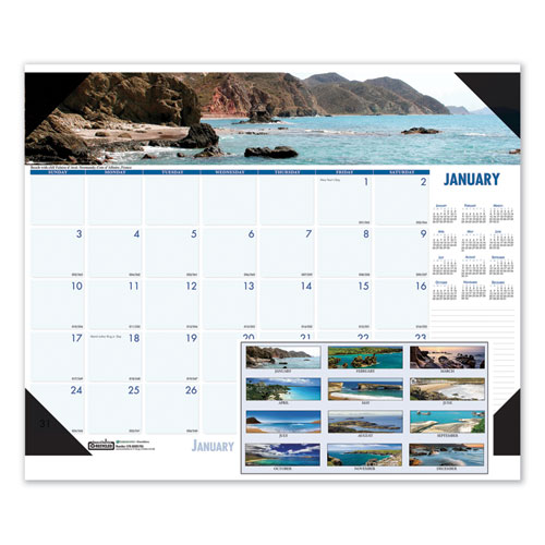 Recycled Coastlines Photographic Monthly Desk Pad Calendar, 18.5 x 13, 2021