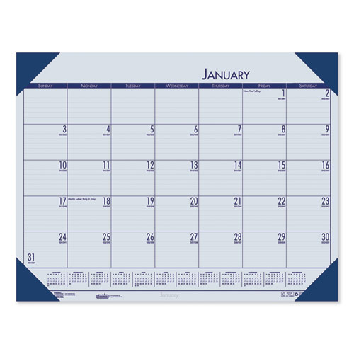 Recycled EcoTones Ocean Blue Monthly Desk Pad Calendar, 18.5 x 13, 2021