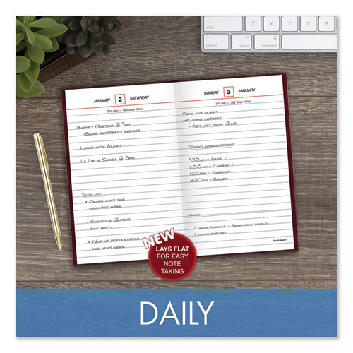 Standard Diary Recycled Daily Reminder, Red, 6.63 x 4.13, 2021