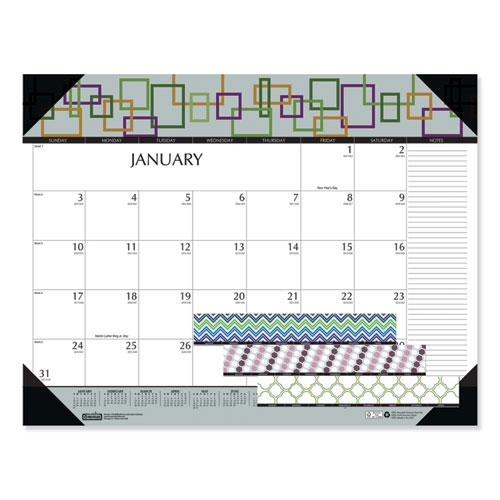 100 Recycled Geometric Desk Pad Calendar, 22 x 17, 2021