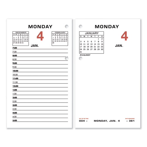 Two-Color Desk Calendar Refill, 3.5 x 6, 2021