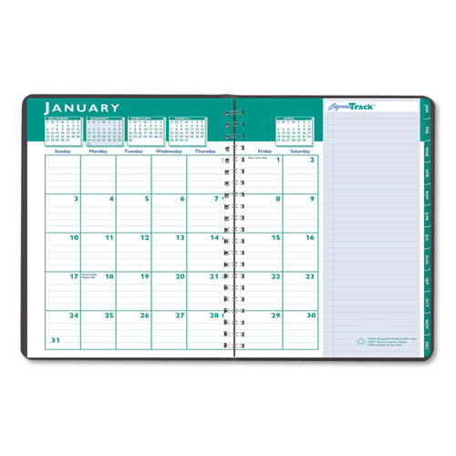 Recycled Express Track Weekly/Monthly Appointment Book, 11 x 8.5, Black, 2021-2022